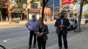 Lisa Gretzky MPP Windsor West, Percy Hatfield MPP Windsor-Tecumseh, and Taras Natyshak MPP Essex, in downtown Windsor, Ont. to announce NDP Save Main Street plan on Friday, Sept. 27 2020. (courtesy Ontario NDP)
