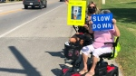 Seniors in Amherstburg protest to extend cross-signal times and get drivers to slow down at busy intersection in Amherstburg, Ont. on Saturday, Sept. 26 2020. (Alana Hadadean/CTV Windsor)