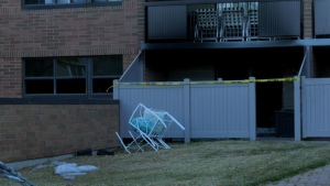 A fire tore through one unit of an apartment building in Calgary early Sunday. One person, the occupant of the home, was hurt.