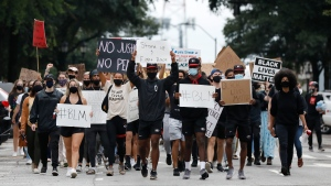 University of Georgia students lead a Black Lives Matter march through Athens, Ga., in memory of Breonna Taylor on Friday, Sept. 25, 2020. (Joshua L. Jones,/Athens Banner-Herald via AP)