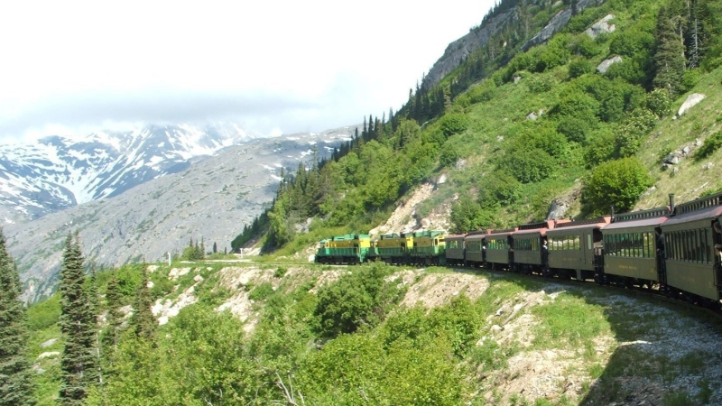 A train is shown travelling along the tracks near Skagway, Alaska in this 2005 file photo. (AP / Joe Kafka)