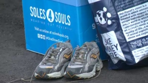 A pair of used shoes at the Soles 4 Souls charity drop-off. (Sept. 26, 2020)