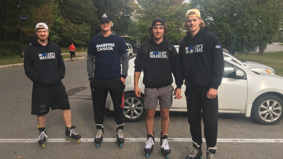 Michael Woolley, Mark Woolley, Liam Van Loon and Navrin Mutter taking part in Lace Up for Diabetes day, Sep. 27, 2020. (Brent Lale/CTV London)