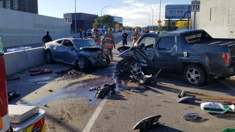 A head-on collision Sunday sent two people to hospital with undetermined injuries, the fire department said. Photo submitted by SFD