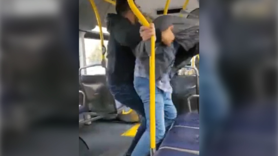 Transit police responded  to a fight on a Surrey, B.C., bus Saturday that broke out over a disagreement about a face mask. (Photo: Shane Dankoski)
