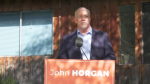 BC NDP Leader John Horgan spent his Sunday trying to sway voters in the riding of Green Leader Sonia Furstenau. (CTV)