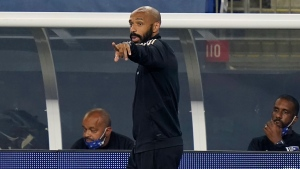 FILE PHOTO: Montreal Impact head coach Thierry Henry, centrE, shouts from the bench during the second half of an MLS soccer match against the New England Revolution, Wednesday, Sept. 23, 2020, in Foxborough, Mass. (AP Photo/Steven Senne)
