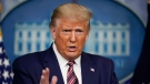 U.S. President Donald Trump gestures while speaking during a news conference at the White House, Sunday, Sept. 27, 2020, in Washington. (AP Photo/Carolyn Kaster)