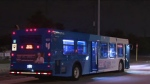 A bus is used to shelter residents after fires broke out in Markham on Sept. 28, 2020. (CP24)
