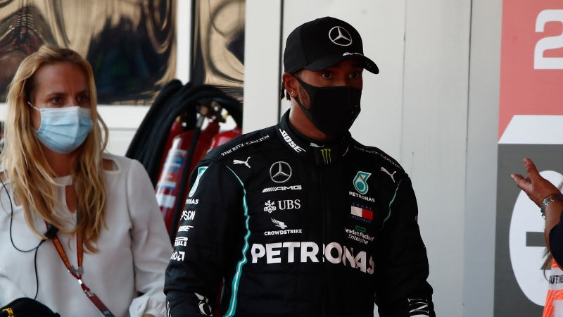 Mercedes driver Lewis Hamilton of Britain reacts after placing third the Russian Formula One Grand Prix, at the Sochi Autodrom circuit, in Sochi, Russia, Sunday, Sept. 27, 2020. (Maxim Shemetov, Pool via AP)