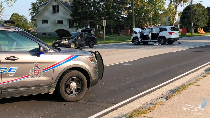 LaSalle police were called to the two-vehicle collision in the 2600 block of Front Road on Sunday, Sept. 27, 2020. (Rob Hindi / AM800 News)