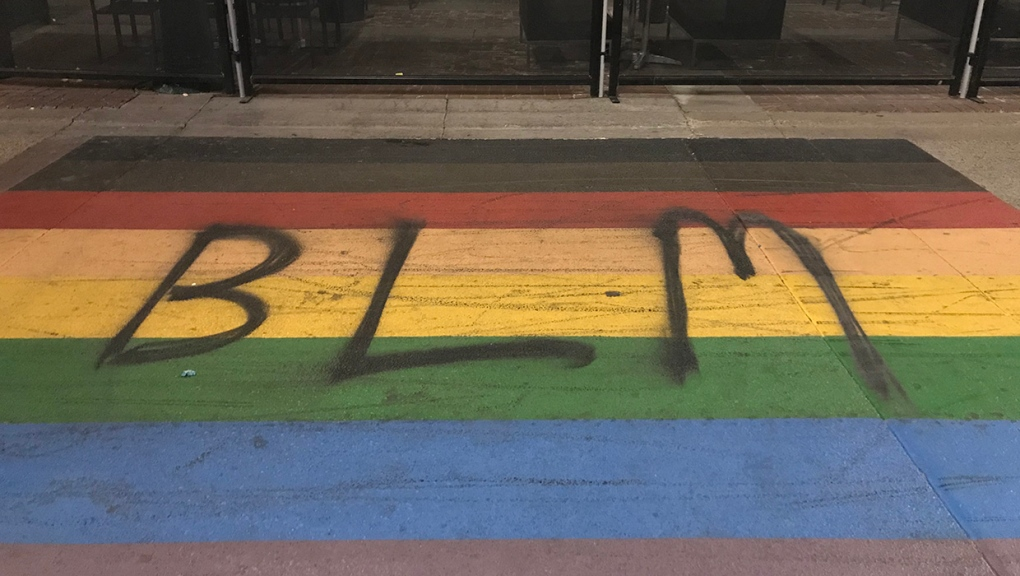 Pride crosswalk, BLM, graffiti, Calgary, rainbow