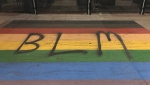 BLM was spray painted on the pride crosswalk in downtown Calgary on the weekend of Sept. 26, 2020