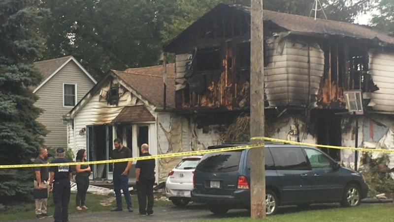 The aftermath of a house fire in the 2500 block of Arthur Road in Windsor, Ont., on Monday, Sept. 28, 2020. (Bob Bellacicco / CTV Windsor)