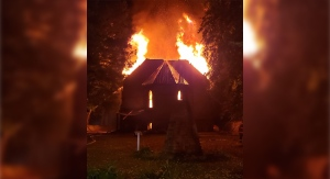A church is seen in flames on Saugeen First Nation, Ont. An investigation into the fire got underway Monday, Sept. 28, 2020. (Source: Viewer photo)