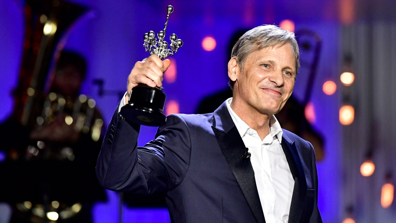 U.S. actor and film director Viggo Mortensen, smiles after receiving the Donostia Award for his contribution to the cinema during the 68th San Sebastian Film Festival, in San Sebastian, northern Spain, Thursday, Sept. 24, 2020. (AP Photo/Alvaro Barrientos)