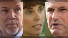 A composite image of three photographs shows BC NDP Leader John Horgan, left, in Coquitlam, B.C., on Sept. 25, 2020; BC Green Party Leader Sonia Furstenau, centre, in Victoria on Sept. 24, 2020; and BC Liberal Party Leader Andrew Wilkinson Pitt Meadows, B.C., on Sept. 24, 2020. (Darryl Dyck, Chad Hipolito / THE CANADIAN PRESS)