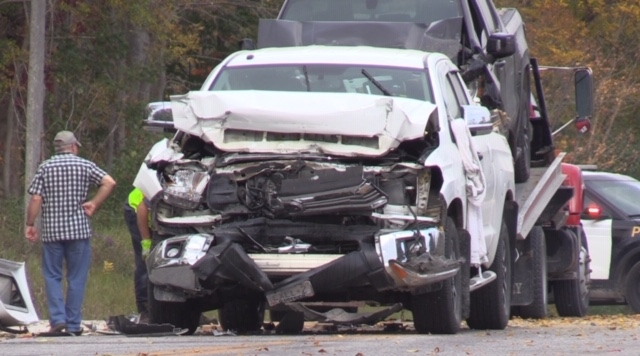 There was significant damage after a multi-vehicle crash east of Whitechurch, Ont. on Monday, Sept. 28, 2020. (Scott Miller / CTV News)