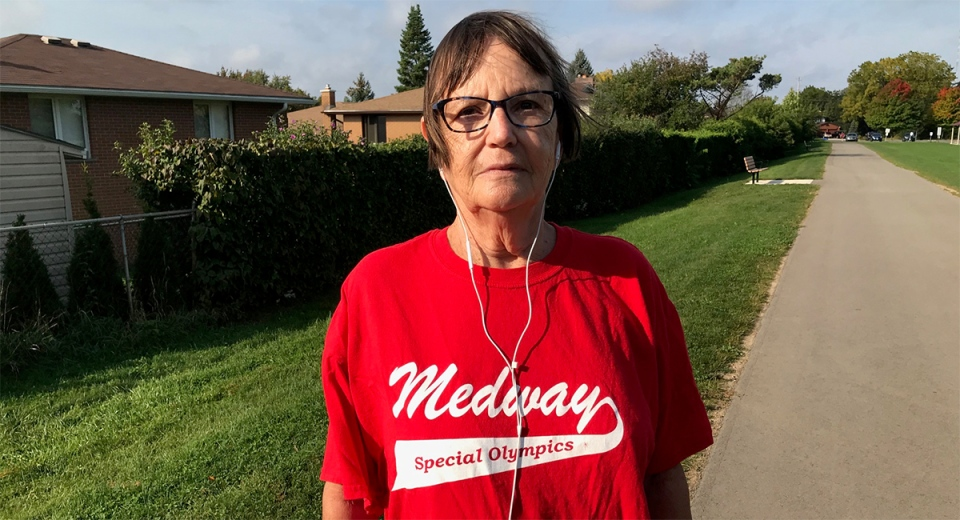 Robin Barnes walks at Mitches Park in London, Ont. on Monday, Sept. 28, 2020. (Sean Irvine / CTV News)