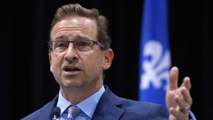Bloc Quebecois Leader Yves-François Blanchet unveils his COVID-19 pandemic recovery plan at a news conference in Gatineau, Quebec on Monday, September 28, 2020. THE CANADIAN PRESS/ Patrick Doyle