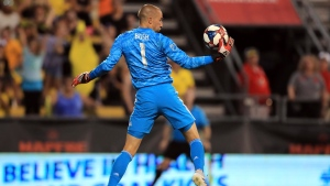 Montreal Impact's Evan Bush makes a save in net during the second half of an MLS soccer match against the Columbus Crew, Saturday, July 20, 2019, in Columbus, Ohio. The Crew won 2-1. (AP Photo/Aaron Doster)