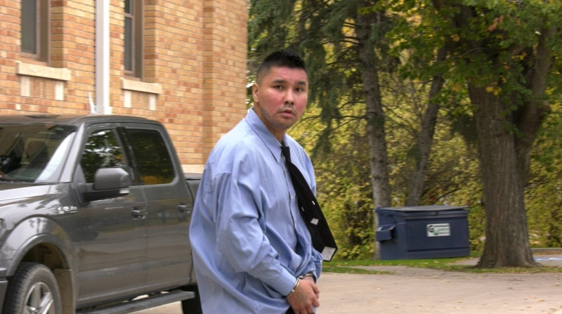 Lenny Daniels is pictured exiting court. (Lisa Risom/CTV Prince Albert)