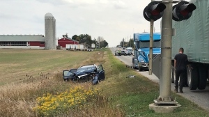 Two people have been injured after a crash between transport trucks and an SUV outside of Elmira. (Dave Pettitt - CTV Kitchener) (Sept. 28, 2020)