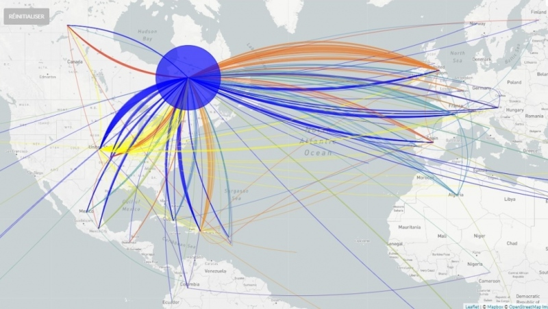 Representation of national and international transmissions of SARS-CoV-2 variants during the months of February and March 2020. The color represents the geographic origin of the cases. At least 247 acquisitions led to the emergence of the epidemic in Quebec. Source: INSPQ