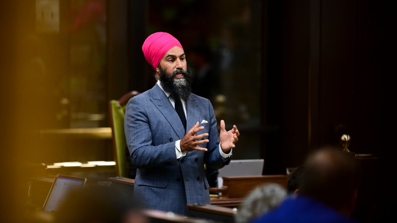 NDP Leader Jagmeet Singh stands during question period in the House of Commons on Parliament Hill in Ottawa on Thursday, Sept. 24, 2020. THE CANADIAN PRESS/Sean Kilpatrick
