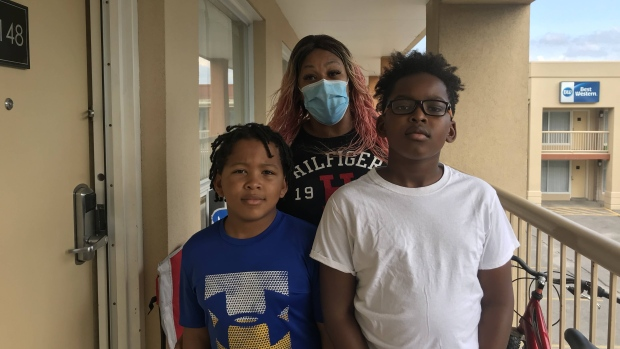 Simone Bennett and her two children are seen in this photograph taken on Sept. 28, 2020. (Janice Golding/CTV News Toronto)