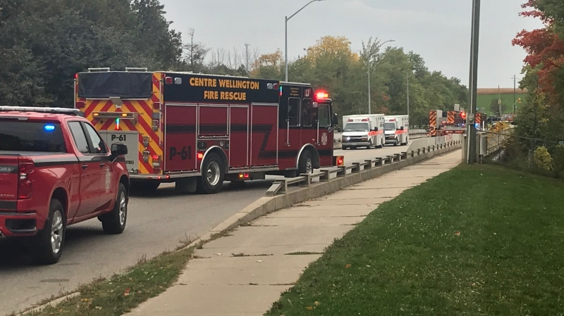 A water rescue call has created a roadblock on an Elora Road near the Grand River. (Dan Lauckner - CTV Kitchener) (Sept. 28, 2020)