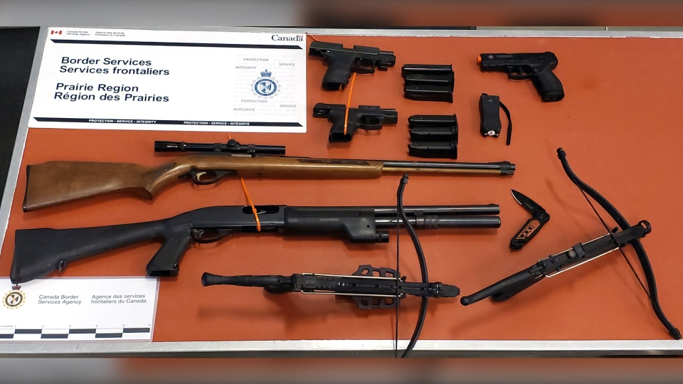Weapons seized at the North Portal crossing on June 30. (Courtesy: Canada Border Services Agency)