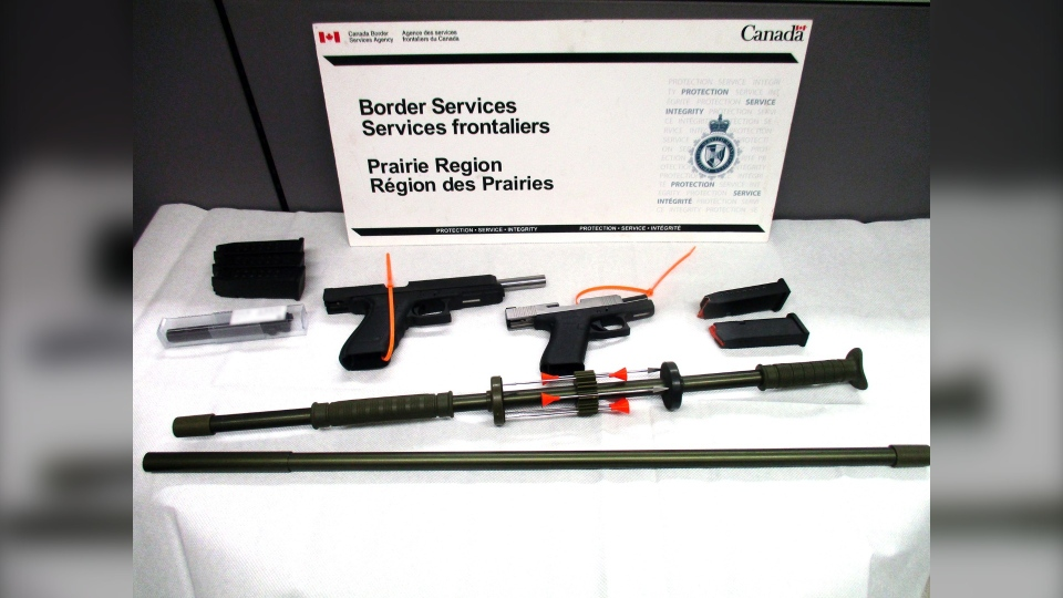 Weapons seized at the North Portal crossing on July 5. (Courtesy: Canada Border Services Agency)
