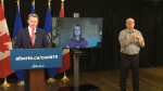 Health Minister Tyler Shandro and Chief Medical Officer of Health Dr. Deena Hinshaw provided Alberta's COVID-19 update on Monday, Sept. 28, 2020. (CTV News Edmonton)