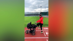 Because of the pandemic Canadian skeleton racer Elizabeth Maier had to hold a drive-thru fundraiser, and trains with her new 9 month old son