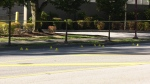 Yellow tape and evidence markers are seen at the scene of a shooting in Delta on Sept. 28, 2020.