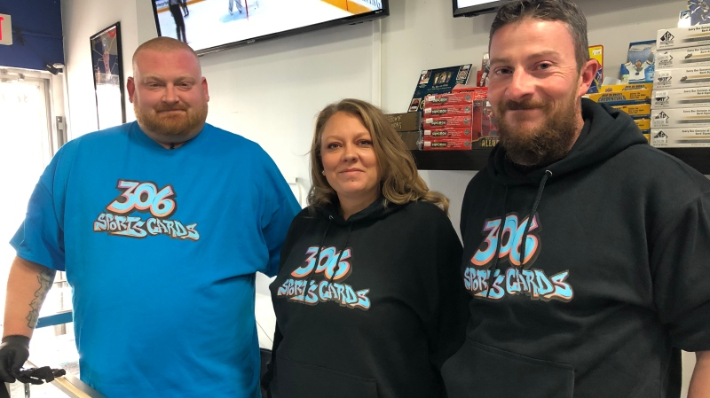 Paul Houk, Stephanie Pettit, and Ryan Paterson of 306 Sports Cards in Saskatoon. (Pat McKay/CTV Saskatoon)