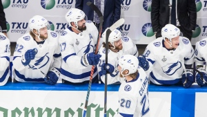 Tampa Bay Lightning's Blake Coleman (20) celebrates his goal with teammates against the Dallas Stars during second period NHL Stanley Cup finals action in Edmonton on Monday, September 28, 2020. THE CANADIAN PRESS/Jason Franson