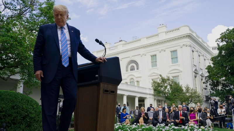 U.S. President Donald Trump leaves after an event about coronavirus testing strategy, in the Rose Garden of the White House, Monday, Sept. 28, 2020, in Washington. (AP / Evan Vucci)