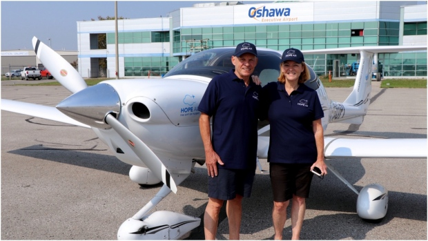 Pilot Lee Arsenault and his wife Marilyn Staig have been volunteers with Hope Air since 2016. The couple has performed 28 flights with the charity in that time helping those in need travel to critically important medical appointments. (Supplied)