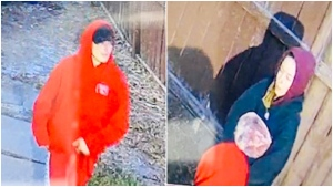 RCMP are askin for help to identify a man and a woman believed responsible for a theft earlier this month at an Airdrie pizza shop. (RCMP handout)