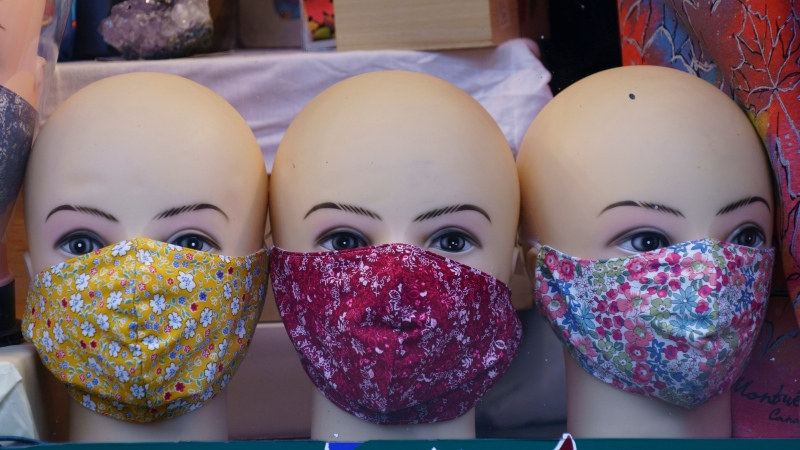 Masks are on display in a store in Montreal, on Monday, September 28, 2020. THE CANADIAN PRESS/Paul Chiasson