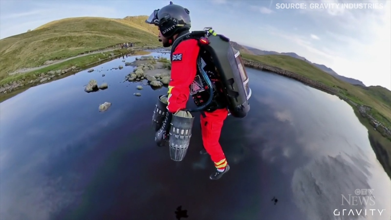 An English helicopter emergency service is teaming up with a jet suit maker to test a new way to access remote locations faster