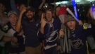 Tampa Bay Lightning fans celebrated the winning of the Stanley Cup, by cheering without physical distancing despite COVID-19 pandemic.