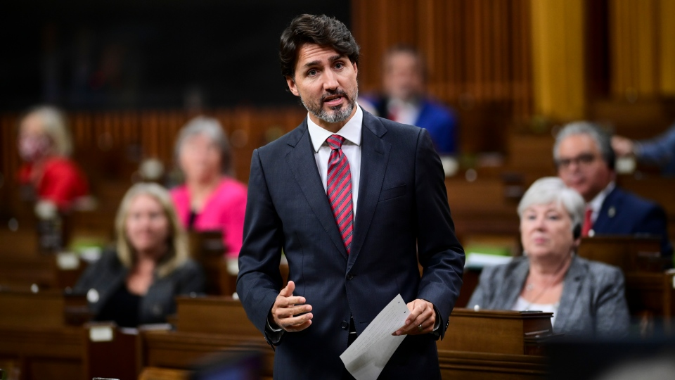 Prime Minister Justin Trudeau stands during question period in the House of Commons on Parliament Hill in Ottawa on Thursday, Sept. 24, 2020. THE CANADIAN PRESS/Sean Kilpatrick