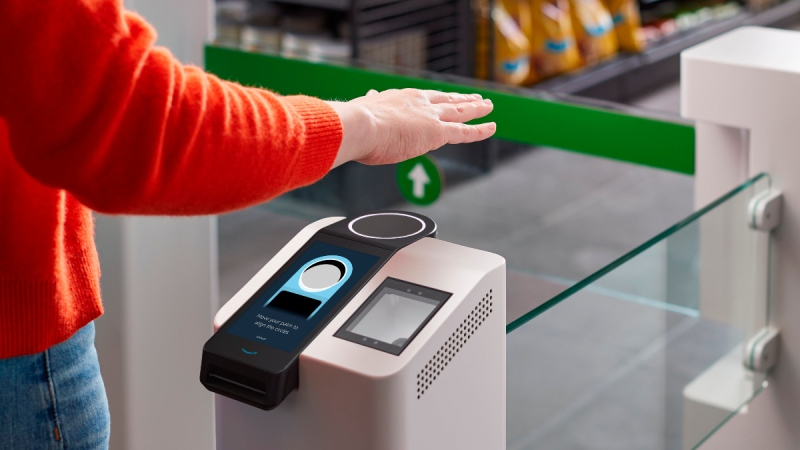 The Amazon One device at an Amazon Go store in Seattle.  (Amazon via AP)