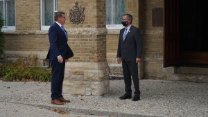 Scott Moe met with Lt.-Gov Russ Mirasty at government House Tuesday to request he dissolve the Legislative Assembly. (Marc Smith / CTV News Regina)