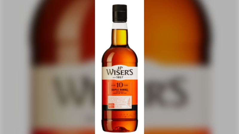 J.P. Wiser's 10 Year Old Whisky bottle (courtesy Enterprise Canada)