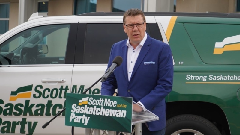 Sask. Party Leader Scott Moe speaking at a Sept. 29 campaign event in Regina.