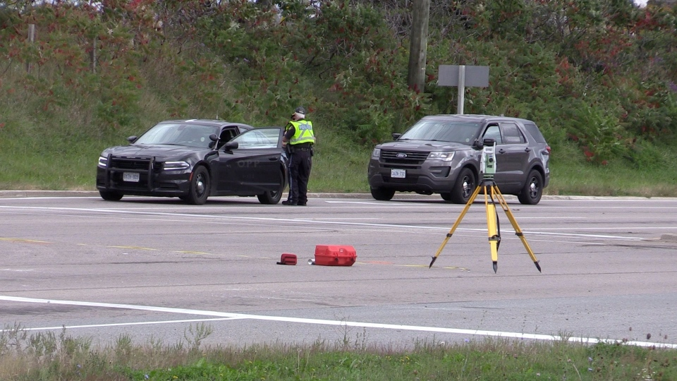 The Special Investigations Unit investigates the death of a 35-year old Pembroke man who was allegedly struck by an unmarked police vehicle in Midland, Ont., on Sept. 29, 2020. (Mike Arsalides / CTV News)